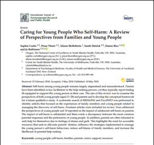 Caring for Young People Who Self-Harm: A Reviewof Perspectives from Families and Young People
