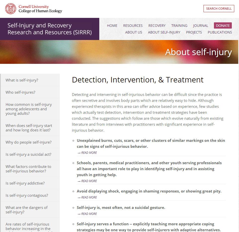 Cornell: Self-Injury - Detection, Intervention, & Treatment