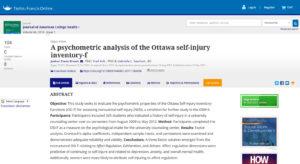 A psychometric analysis of the Ottawa self-injury inventory-f